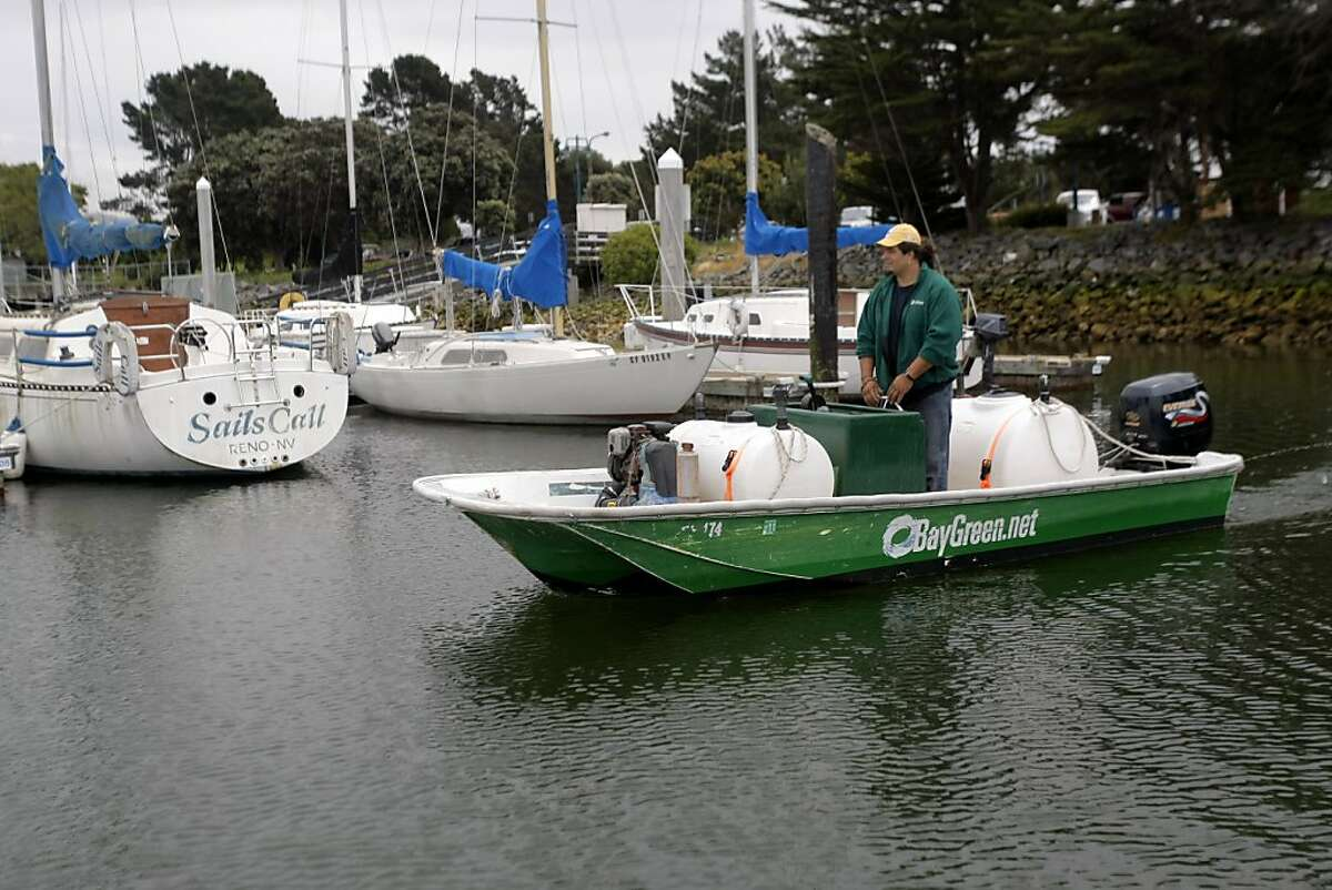Dan Augustine, owner and operator of BayGreen, a mobile pumping station heads out to pump out human waste and graywater from boats' holding tanks in Berkeley Marina in Berkeley, Calif., on Friday, April 22, 2011.