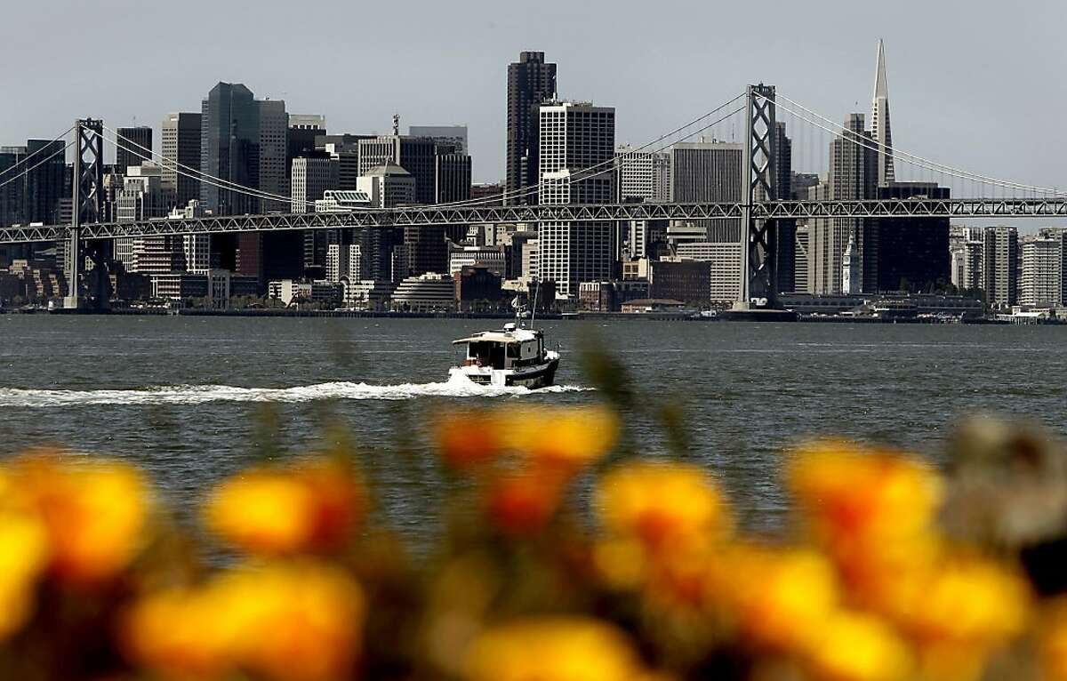 """The view from Middle Harbor Shoreline Park, in Oakland, Calif. on Tuesday April 26, 2011, with the skyline of San Francisco. The American Lung Association has given San Francisco City and County an """"A"""" grade for air quality and low smog levels."""