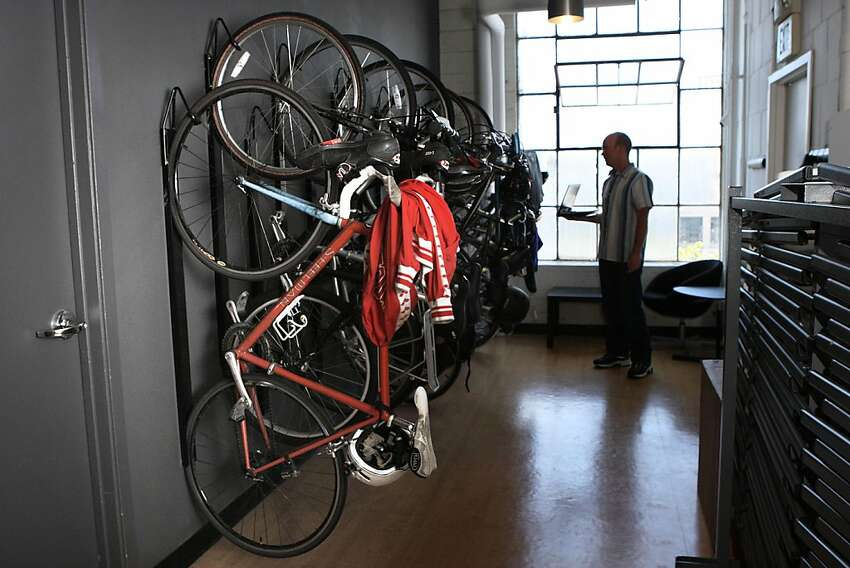 The bike rack at Lookout Mobile Security needing room to grow in San Francisco, Calif., on Monday, May 2, 2011. Lookout Mobile Security is a mobile security and antivirus software for smartphone protection.