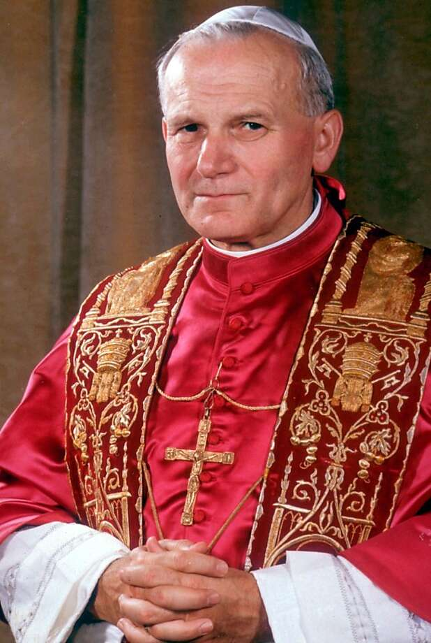 This is an undated photo provided by the Vatican, showing Pope John Paul II. Pope John Paul II, the Polish pontiff who led the Roman Catholic Church for more than a quarter century and became history's most-traveled pope, died Saturday night, April 2, 2005 in his Vatican apartment. He was 84. Photo: AP