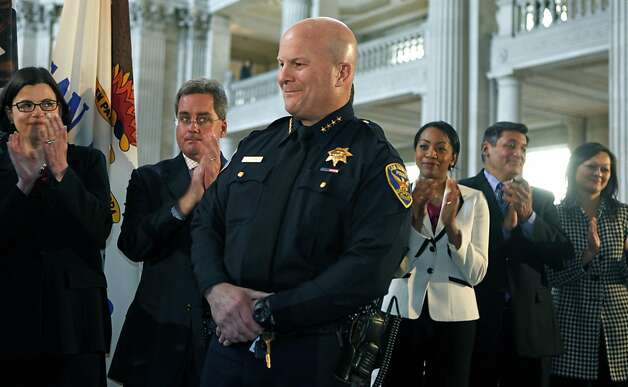 San Francisco Mayor Ed Lee swears-in police captain Greg Suhr as the new chief of police for SFPD at San Francisco City Hall Wednesday, April 27, 2011. Photo: Lance Iversen, The Chronicle