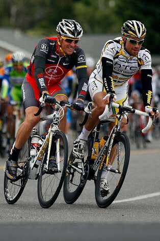 Lance Armstrong of team Radio Shack rides with Bernhard Eisel of Austria riding for team HTC-Columbia during stage two of the Tour of California on May 17, 2010 in Winters, California. Photo: Chris Graythen, Getty Images