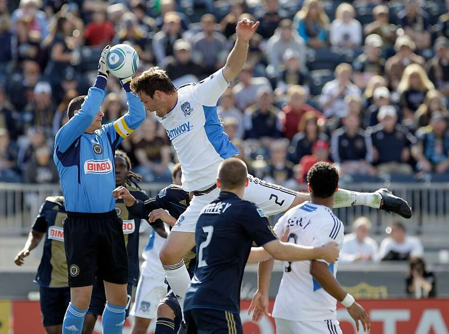 CHESTER, PA - APRIL 30: Goalie Faryd Mondragon #1 of the Philadelphia Union makes a save as Bobby Burling #2 of the San Jose Earthquakes tries to head the ball during the first half at PPL Park on April 30, 2011 in Chester, Pennsylvania. Photo: Rob Carr, Getty Images