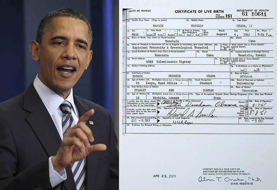 President Barack Obama gestures while speaking about his birth certificate, Wednesday, April 27, 2011, in the Brady Press Briefing Room of the White House in Washington.Obama Birth Certificate President Barack Obama gestures while speaking about his birth certificate, Wednesday, April 27, 2011, in the Brady Press Briefing Room of the White House in Washington. (AP Photo/Susan Walsh) Photo: Ap