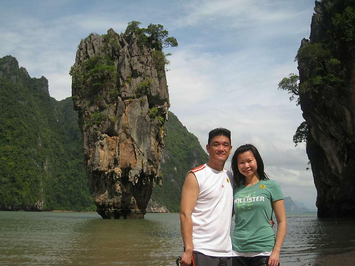Stephen Jung and Nancy Leung of Brisbane near James Bond Island in Phang Nga Bay by Phuket Thailand.