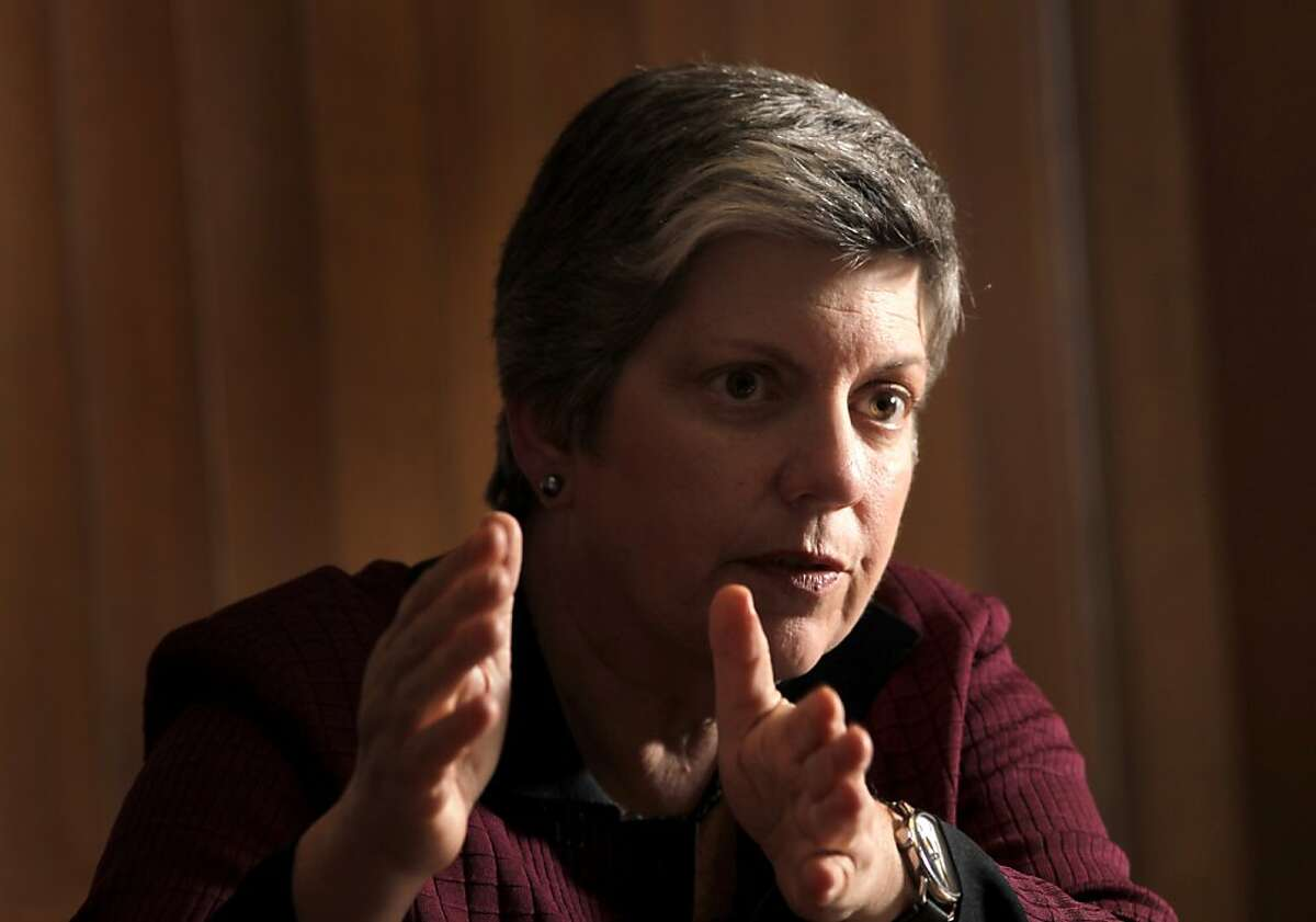 Homeland Security Secretary Janet Napolitano answers questions of the San Francisco Chronicle Editorial Board, Monday April 25, 2011, in San Francisco, Calif. Among the issues she disgusted was border security and immigration.