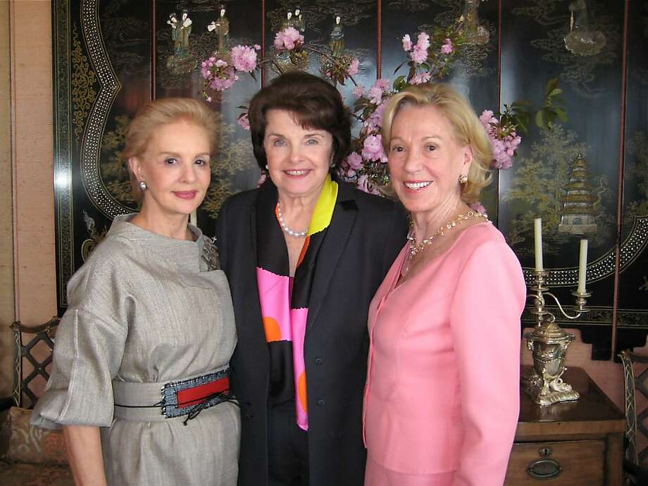 Designer Carolina Herrera (at left) with Sen. Dianne Feinstein and lunch hostess Charlotte Shultz. April 2011. By Catherine Bigelow. Photo: Catherine Bigelow, Special To The Chronicle