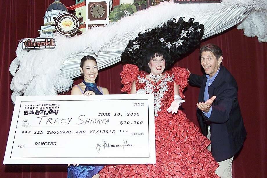 Tracy Shibata (2002 Dance Winner) with former Beach Blanket Babylon star, Val Diamond and actor/director Peter Coyote. Photo: David M. Allen
