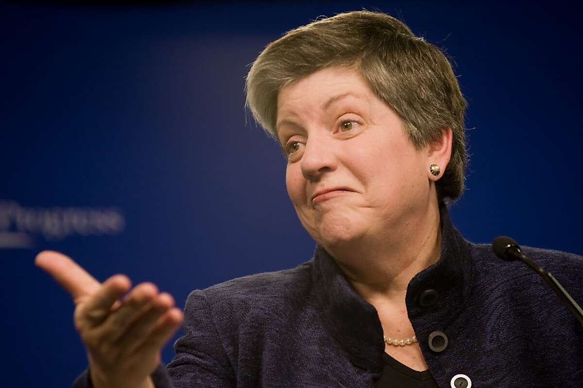 US Homeland Security Secretary Janet Napolitano delivers remarks on immigration policy at the Center For American Progress (CAP) in Washington, DC on November 13, 2009. Napolitano spoke on efforts to reform legislation on the treatment of illegal immigrants. AFP PHOTO/Nicholas KAMM (Photo credit should read NICHOLAS KAMM/AFP/Getty Images)