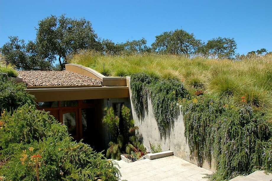 Native and non-native grasses cover the meadow roof of Ted Buttner and Rosemary Chang's home.  Cynthia Tanyan, of Mozaic Landscape Design,  sold them on a meadow roof that would blend visually with the open spaces of Pleasanton Ridge Regional Park across the fence line. Photo: Bay Friendly Garden Tour