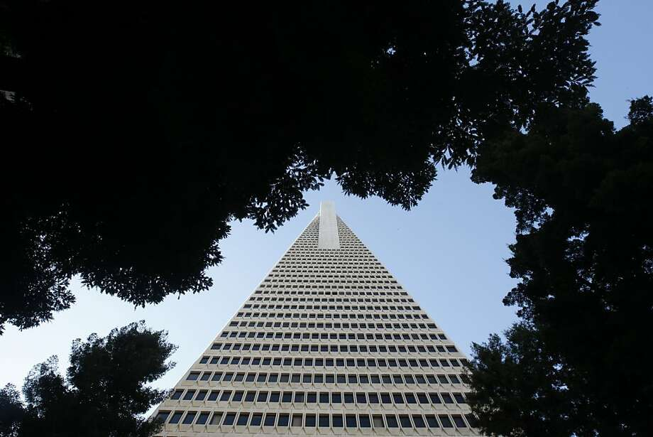 The Transamerica Pyramid on Columbus Avenue and Washington Street in San Francisco, Calif., on Saturday, Dec. 3, 2011.  The building is known for it's pedestrian thoroughfare, Redwood Park. Photo: Dylan Entelis, The Chronicle
