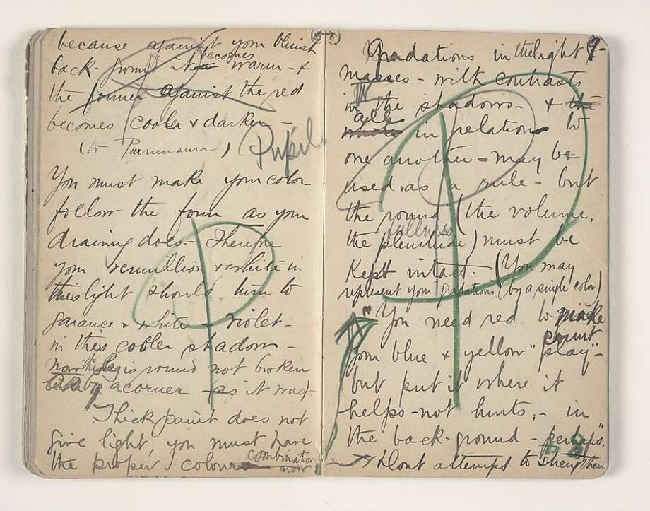 Pages from the 1908 notebook kept by Sarah Stein (believed lost until its recent rediscovery in her grandson's estate in Portola Valley) of her time as a student of Henri Matisse, who art she and husband Michael collected Photo: Unknown, S. F. Msueum Of Modern Art