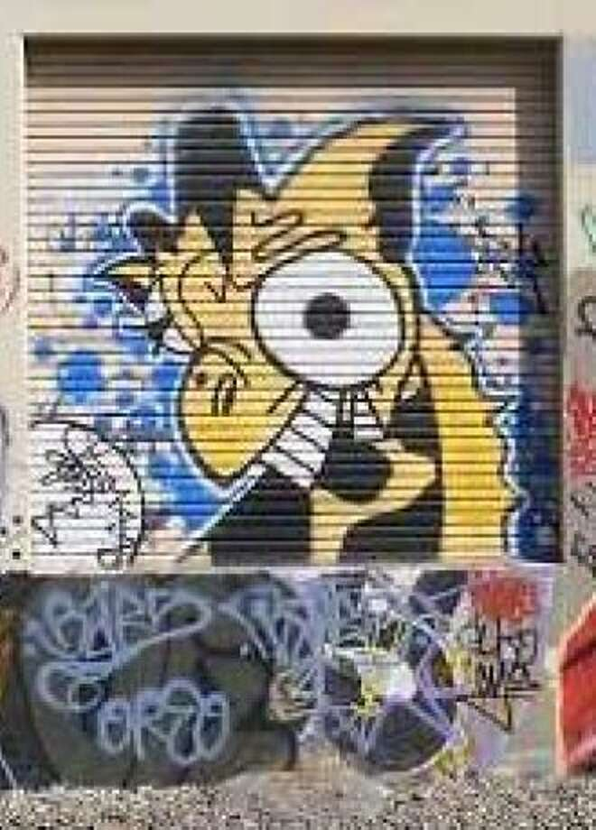 One of the cartoon giraffes that got graffiti artist/vandal Steven Free in trouble. Free was convicted in April 2011 in San Jose of felony vandalism. Photo: San Jose Police