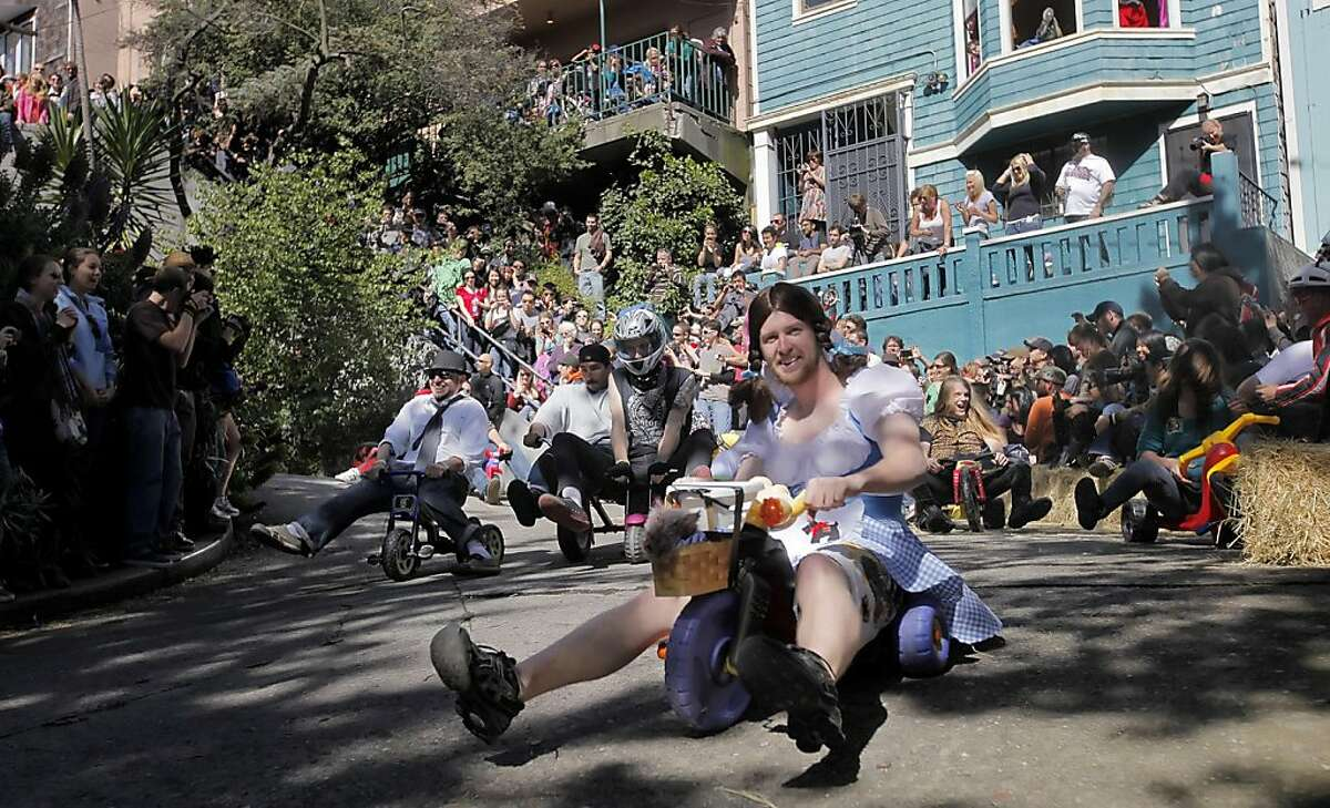 Races speed down the crooked part of Vermont Streets in the eleventh annual Easter Day