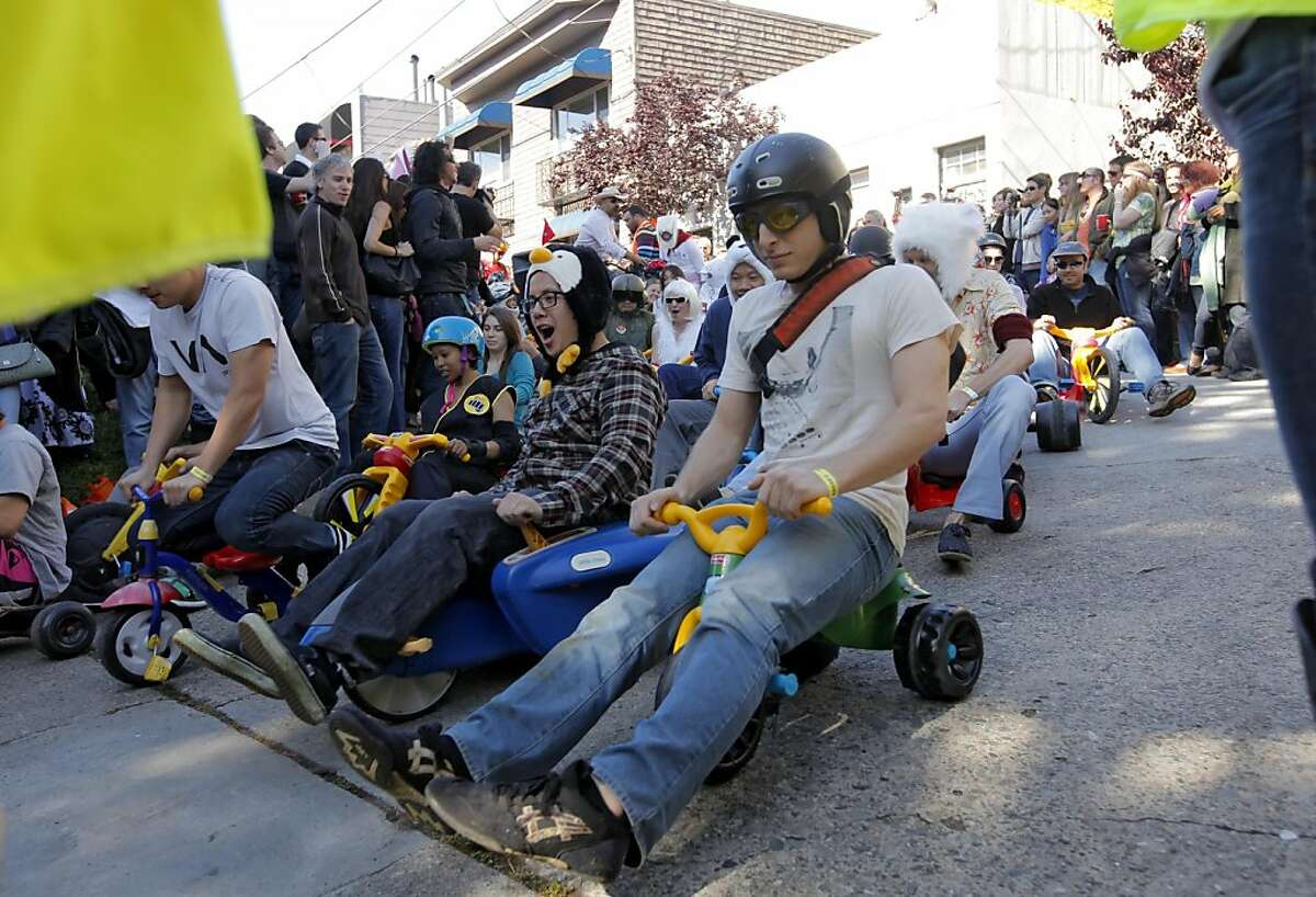 Races prepare for the start at the top of 20th and Vermont Street in the eleventh annual Easter Day