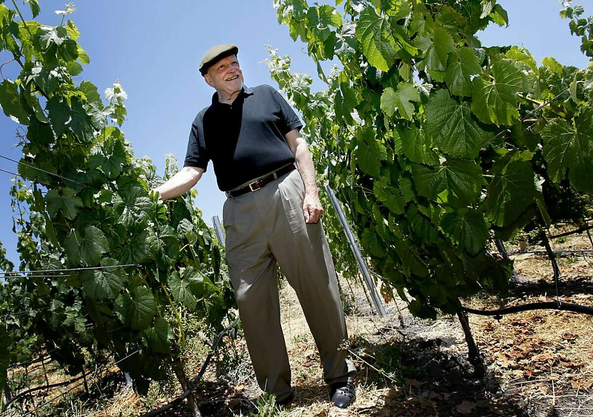 Jackson smiles as he tours some of his grape vines on the ranch. He still does tastings almost every day. Jess Jackson, winemaker turned racehorse owner, at his ranch near Geyserville still calls himself a farmer as he roams around on his huge estate on Alexander mountain.