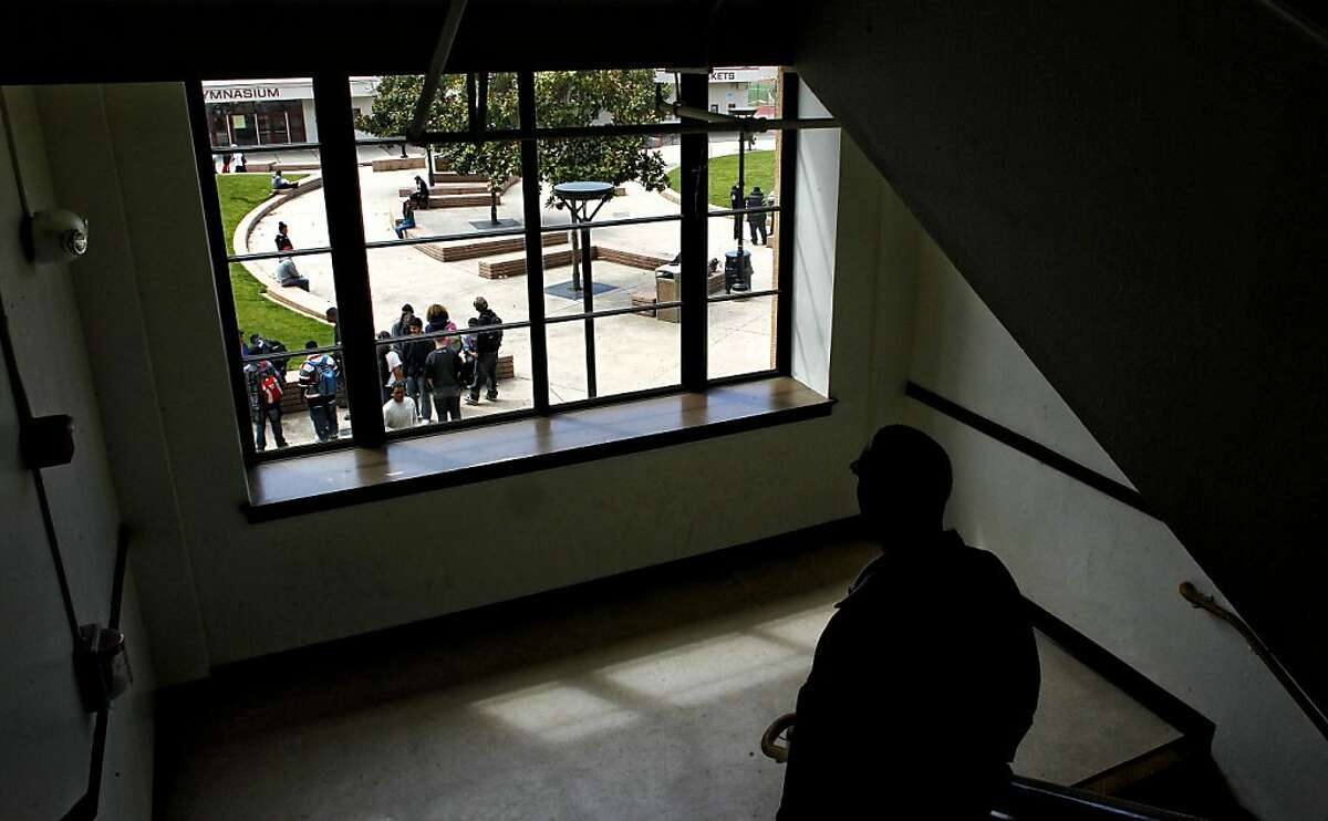 School Safety Officer, Billy Keys, (below) keeps an eye on the students as they break for lunch at Berkeley High School on Thursday April 14, 2011, in Berkeley, Ca., where a rash of guns on campus have parents and the community on edge.