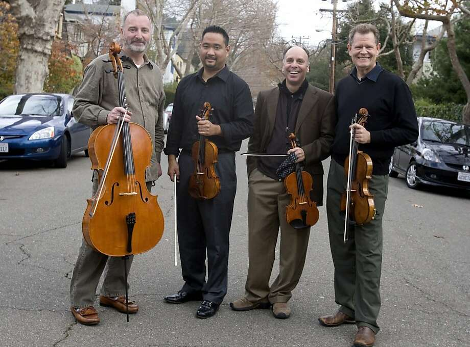 The Alexander String Quartet, from left: Sandy Wilson, Zakarias Grafilo, Frederick Lifsitz and Paul Yarbrough seen in Berkeley in St. John's presbyterian church during an intermission of their performance Saturday, December 5, 2009. Berkely Calif. Photo: Jana Asenbrennerova, The Chronicle