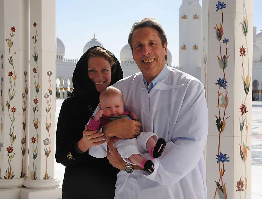 Caryl and Jim Miller of San Geronimo with Ida Marguerite Nelson at the Sheikh Zayed Grand Mosque in Abu Dhabi. Photo: Courtesy Caryl Miller