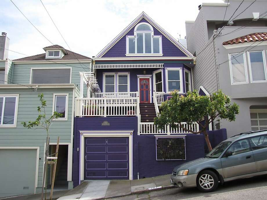 Purple houses like this one at 161 Randall Street in Glen Park are surprises that can bring a drab block to life. Photo: John King