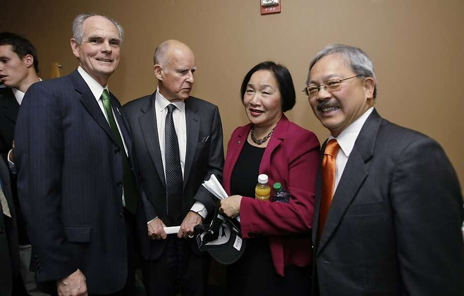 From left to right, San Jose Mayor Chuck Reed, Calif. Gov. Jerry Brown, Oakland Mayor Jean Quan and San Francisco Mayor Ed Lee, meet backstage during the 8th Annual CEO Summit at IBM offices in San Jose, Calif., Friday, April 22, 2011. Photo: Paul Sakuma, Associated Press