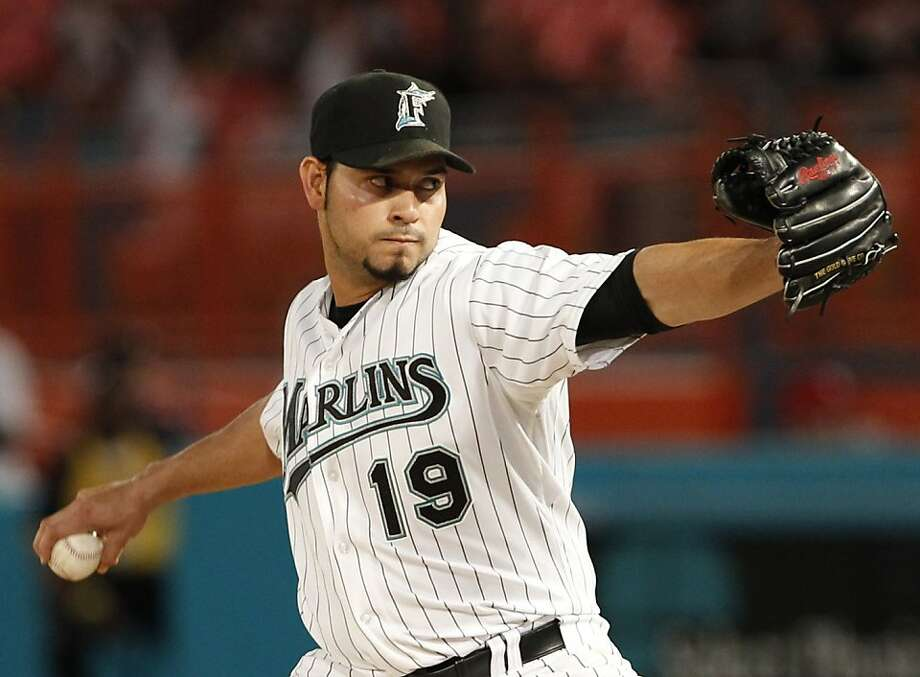 Florida Marlins' Anibal Sanchez delivers a pitch in the seventh inning of a baseball game against the Colorado Rockies, Friday, April 22, 2011, in Miami. Rockies' Dexter Fowler, singled to lead off the ninth inning for the only hit against Sanchez in thegame as the Marlins defeated the Rockies 4-1. Photo: Wilfredo Lee, AP