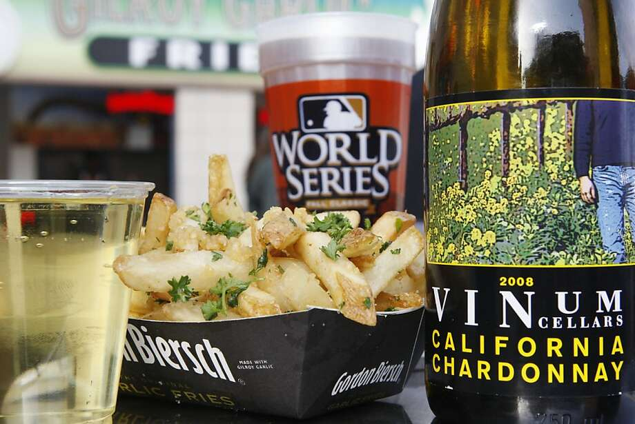 Garlic Fries are paired with Vinum Chardonnay and Martzen beer at the top of O'Douls gate at AT&T Park in San Francisco Calif, on Wednesday, April 13, 2011. Photo: Alex Washburn, The Chronicle