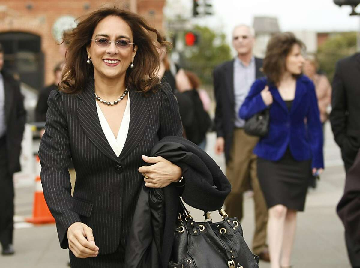 Harmeet Dhillon, San Francisco County chair of the Republican Party, walks down the sidewalk near Buena Vista Cafe in San Francisco Calif, on Tuesday, April 19, 2011.
