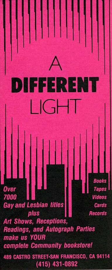 A bookmark from A Different Lights, circa 1990. Photo: Courtesy GLBT Historical Society