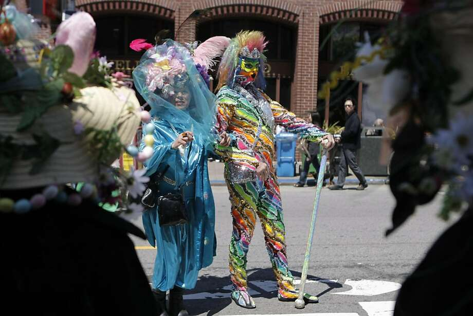 Alexandria Zyo (center left) and Prince Aurora (right) pose for a picture during the Union Street Festival in San Francisco, Calif., on Sunday, April 24, 2011. Photo: Thomas Levinson, The Chronicle
