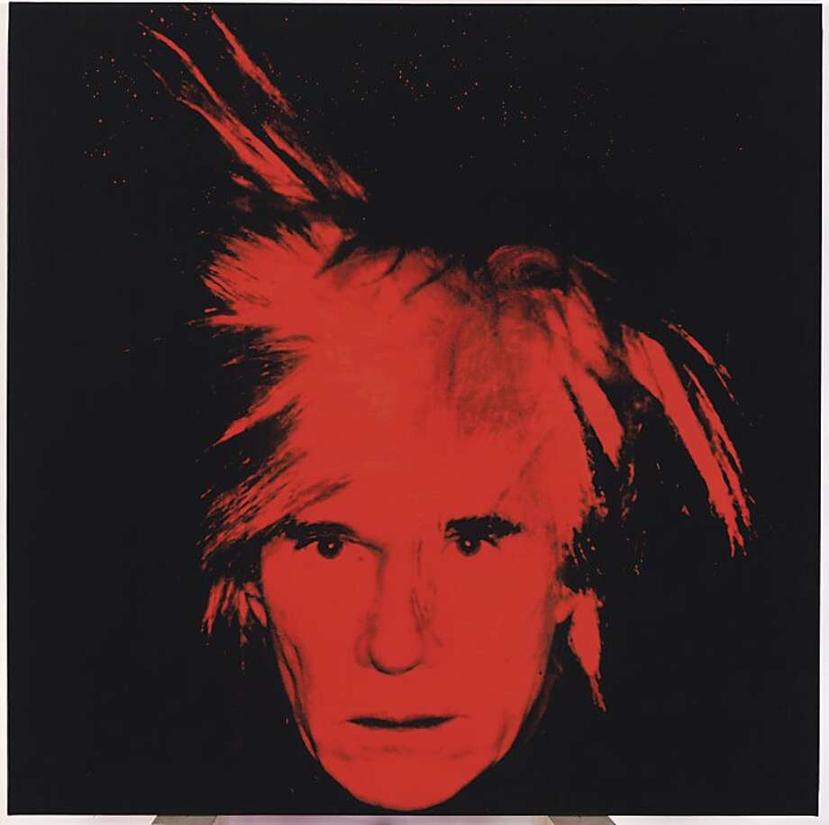 """This photo provided by Christie's shows Andy Warhol's 1986 """"Self Portrait,"""" which was among the last of his paintings to be exhibited while he was alive. Christie's auction house said Wednesday, April 20, 2011, that it will sell the stark red-on-black """"Self-Portrait"""" in New York on May 11. It's estimated to bring up to $40 million. Photo: AP"""