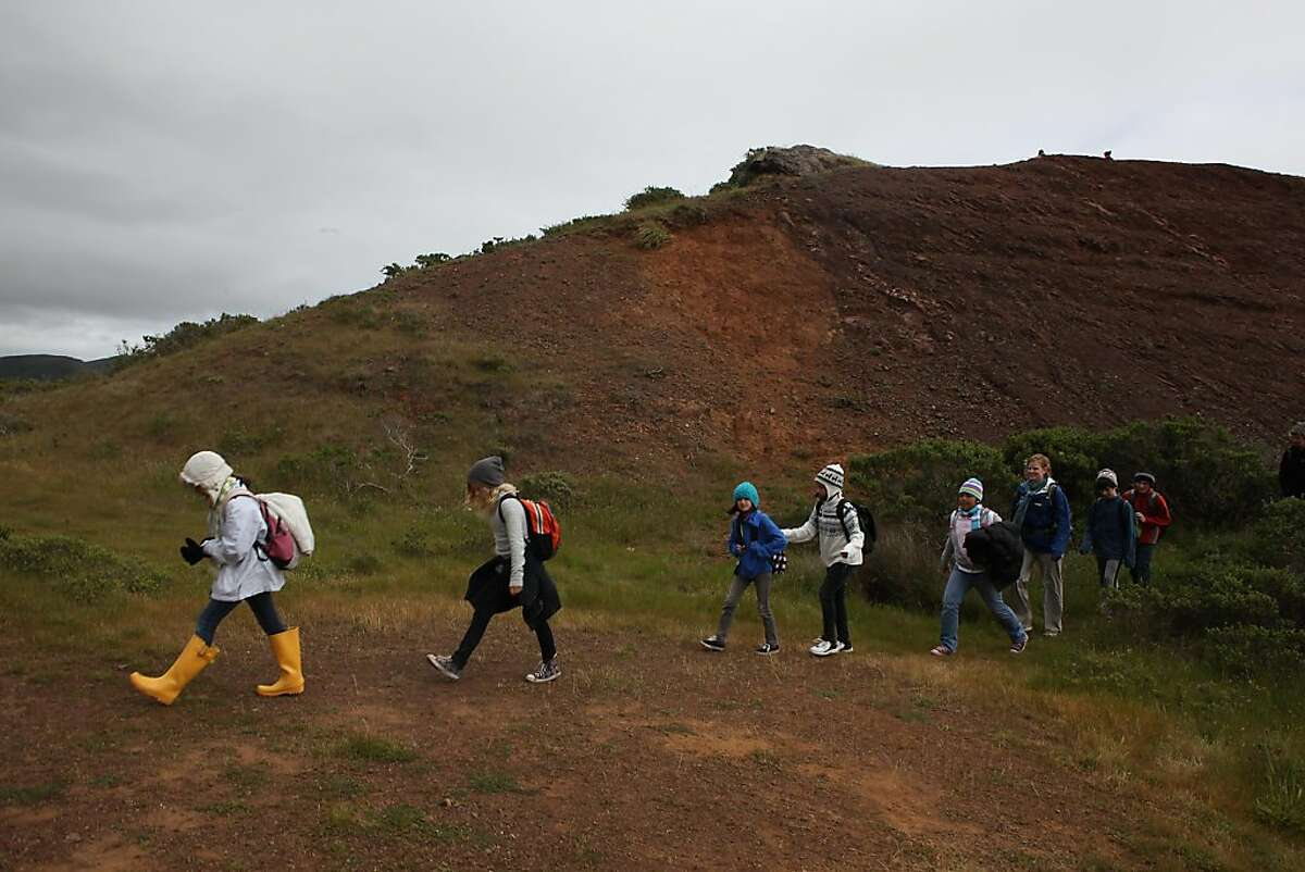 A group of fifth grade Berkeley students from Cragmont Elementary as they walk the hills next to the Marin Headlands Institute in Sausalito, Calif., on Wednesday, April 20, 2011.