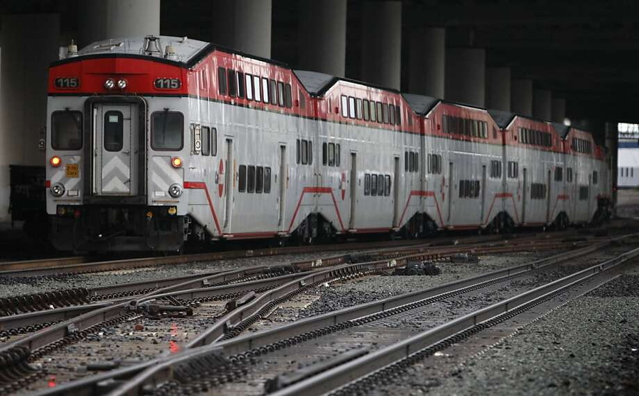 A southbound Baby Bullet train departs from the Caltrain station in San Francisco, Calif., on Wednesday, Dec. 22, 2010. Caltrain will start operating the Baby Bullet express service on weekends beginning Jan. 1 for a trial period. Photo: Paul Chinn, The Chronicle