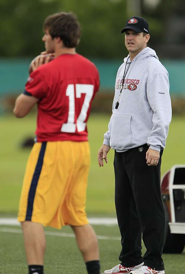 San Francisco 49ers coach Jim Harbaugh watches California quarterback Kevin Riley during the 49ers' local pro day at the NFL football team's training facility in Santa Clara, Calif., Wednesday, April 20, 2011. Photo: Paul Sakuma, AP