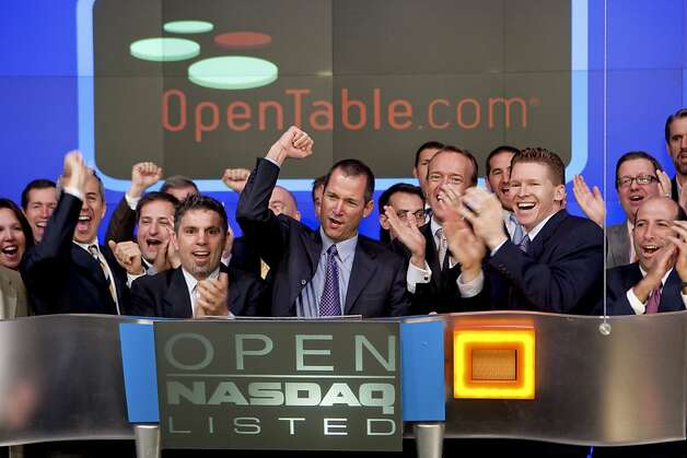 Jeff Jordan, chief executive officer of OpenTable Inc., center, celebrates with company representatives after the opening bell at the NASDAQ MarketSite in New York, U.S., on Friday, May 22, 2009. OpenTable Inc., the restaurant-reservation service, soared 59 percent after the company's initial public offering yesterday defied the slowest IPO market in decades. Photographer: Zef Nikolla/Nasdaq via Bloomberg News Jeff Jordan, chief executive officer of OpenTable Inc., center, celebrates with company representatives after the opening bell at the NASDAQ MarketSite in New York, U.S., on Friday, May 22, 2009. OpenTable Inc., the restaurant-reservation service, soared 59 percent after the company's initial public offering yesterday defied the slowest IPO market in decades. Photographer: Zef Nikolla/Nasdaq via Bloomberg News EDITOR'S NOTE: NO SALES. EDITORIAL USE ONLY. Photo: Zef Nikolla, Nasdaq Via Bloomberg News