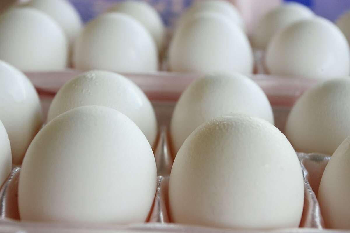 Eggs sit in an egg carton in Washington, DC, August 19, 2010. A US egg producer has recalled more than 200 million chicken eggs apparently contaminated with salmonella bacteria after hundreds of people have become sick, according to the US Food and Drug Administration (FDA).