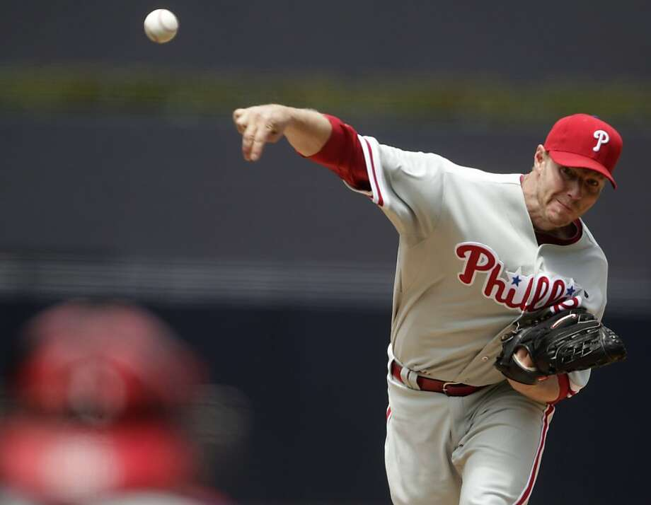 Philadelphia Phillies starting pitcher Roy Halladay works in the first inning against the San Diego Padres in a baseball game, Sunday, April 24, 2011, in San Diego. Photo: Lenny Ignelzi, AP