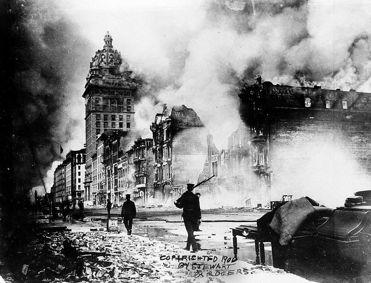 ** FOR USE ANY TIME WITH 1906 EARTHQUAKE ANNIVERSARY STORIES-FILE ** In this photo released by the Bancroft Library, fires rage out of control in San Francisco following the massive earthquake Wednesday, April 18, 1906. The quake measured 8.3 on the Richter scale igniting fires that proved far more disastrous. (AP Photo/Bancroft Library) ** NO SALES **Ran on: 04-18-2006 The Embarcadero. Where horse-drawn carriages once were the rule, near right, today cars and pedestrians rush by, second from right. The Ferry Building can be seen on the left in both photos.