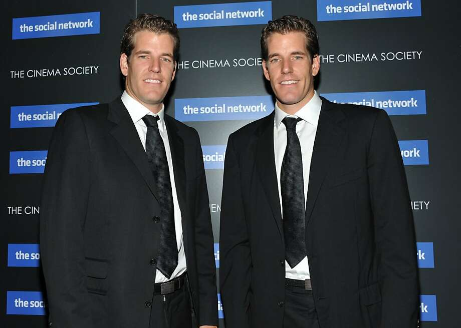 FILE - In this Sept. 29, 2010 file photo, twins Cameron Winklevoss and Tyler Winklevoss attend a special screening of 'The Social Network' in New York. On Monday, April 11, 2010, a federal appeals court ruled that the former Harvard University classmatesof Facebook founder Mark Zuckerberg can't undo their settlement over the social networking site. The 9th U.S. Circuit Court of Appeals said Monday that Tyler and Cameron Winklevoss of Greenwich, Conn., were savvy enough to understand what they were agreeing to when they signed the agreement in 2008. The deal called for a $20 million cash payment and a partial ownership of Facebook. Photo: Evan Agostini, AP