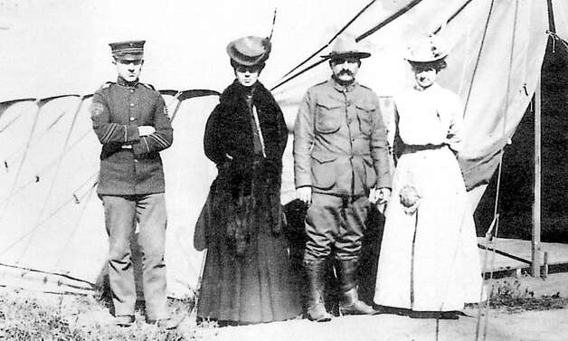 Dr. Leonie von Zesch, second from left, and colleagues outside the post-quake emergency medical tent at the Presidio, April 1906. On back of photo: from left, Sergeant Cornelius, hospital steward, myself; Dr. Springwater, surgeon, and Mrs. Cornelius at Emergency Hospital, Presidio 1906. Photo: Unknown, Jane G. Troutman Family Trust
