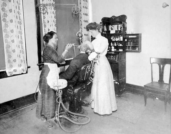 Dr. Leonie von Zesch (right) and assistant work on a dental patient in Von Zesch's San Francisco office. Date unknown. Photo: Unknown, Jane G. Troutman Family Trust