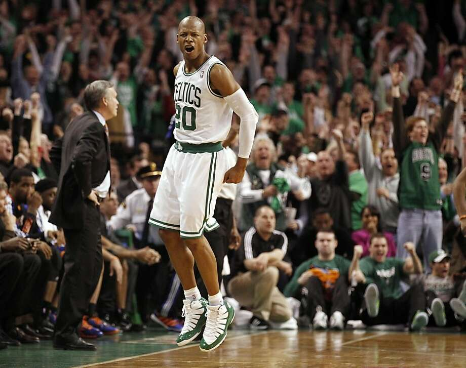 Boston Celtics' Ray Allen celebrates after hitting the game winning 3-point shot as New York Knicks coach Mike D'Antoni, left, stands in front of the bench during the fourth quarter of Boston's 87-85 win in Game 1 of a first-round NBA playoff basketball series in Boston on Sunday, April 17, 2011. Photo: Winslow Townson, AP