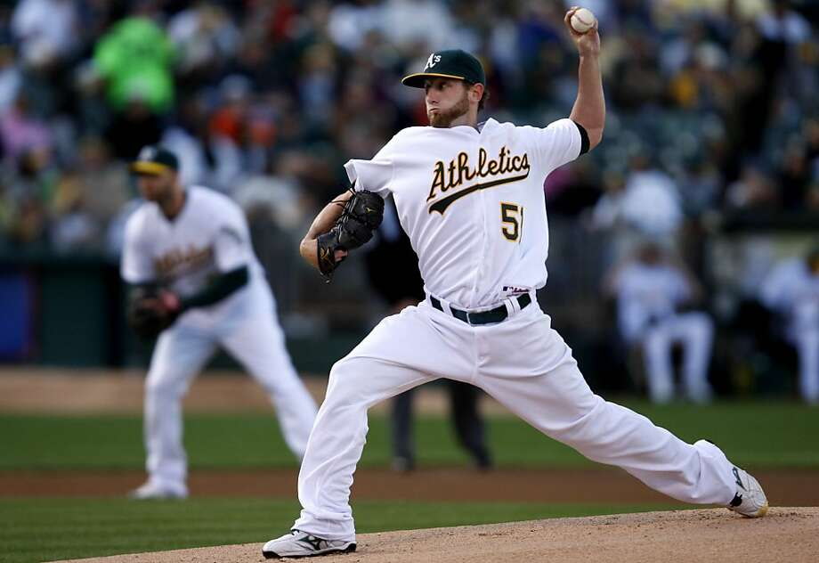 Oakland A's Dallas Braden pitches during the 1st inning. As the Oakland Athletics take on the Detroit Tigers at Oakland-Alameda County Coliseum in Oakland, Calif., on Saturday, April 16, 2011. Photo: Thomas Levinson, The Chronicle