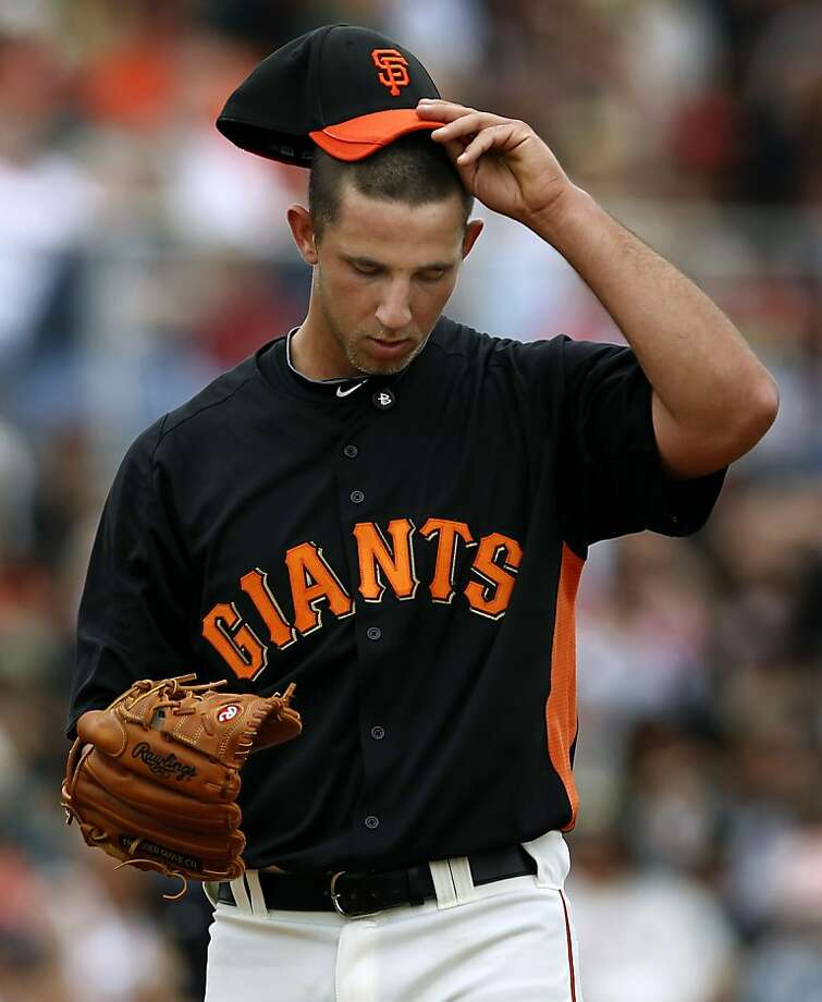 Madison Bumgarner's Cactus League record fell to 1-3 after the Oakland A's 6-4 win over the San Francisco Giants in a spring training game at Scottsdale Stadium in Scottsdale, Ariz., on Sunday. Photo: Paul Chinn, The Chronicle
