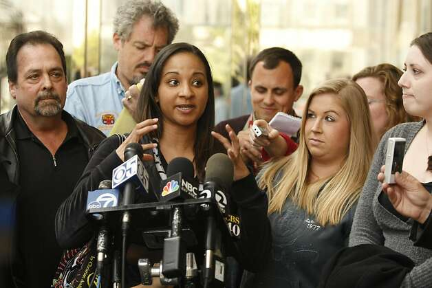 Nyiesha, flanked by her fellow jurors of the Barry Bonds perjury trial addresses the media in front of the Federal Courthouse in San Francisco Calif, after coming to a decision on Wednesday, April 13, 2011. Photo: Alex Washburn, The Chronicle