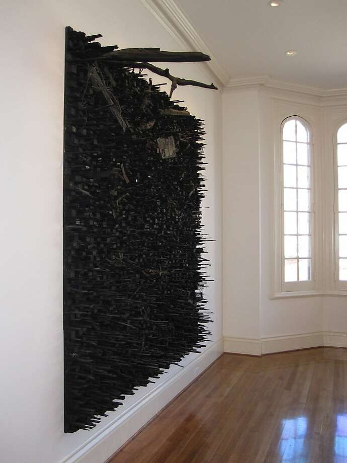 """Number 13S"" (2011) wood sculpture by Leonardo Drew   96"" x 96"" x 14"" Photo: Unknown, Anthony Meier Fine Arts, S.f."