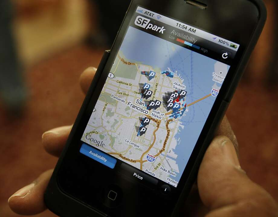 The SFpark application works on smart phones and includes a warning not to use the application while driving. The city of San Francisco launched the SFpark system which includes a smart-phone and computer application that shows available parking in major retail, and tourist areas in the city Thursday April 21, 2011. Photo: Brant Ward, The Chronicle