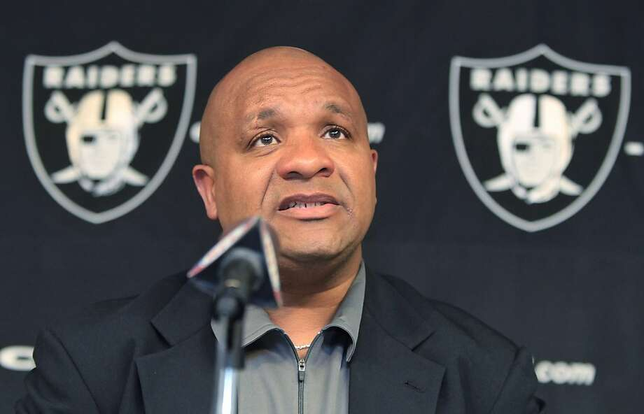Oakland Raiders new head coach Hue Jackson answers a question during an NFL football news conference at Raiders headquarters in Alameda, Calif., Thursday, April 21, 2011. Jackson has hired a staff, talked strategy and philosophy with his new assistants, put together a playbook and promoted the team in the community as he prepares for his first season as a head coach in the NFL. Photo: Paul Sakuma, AP