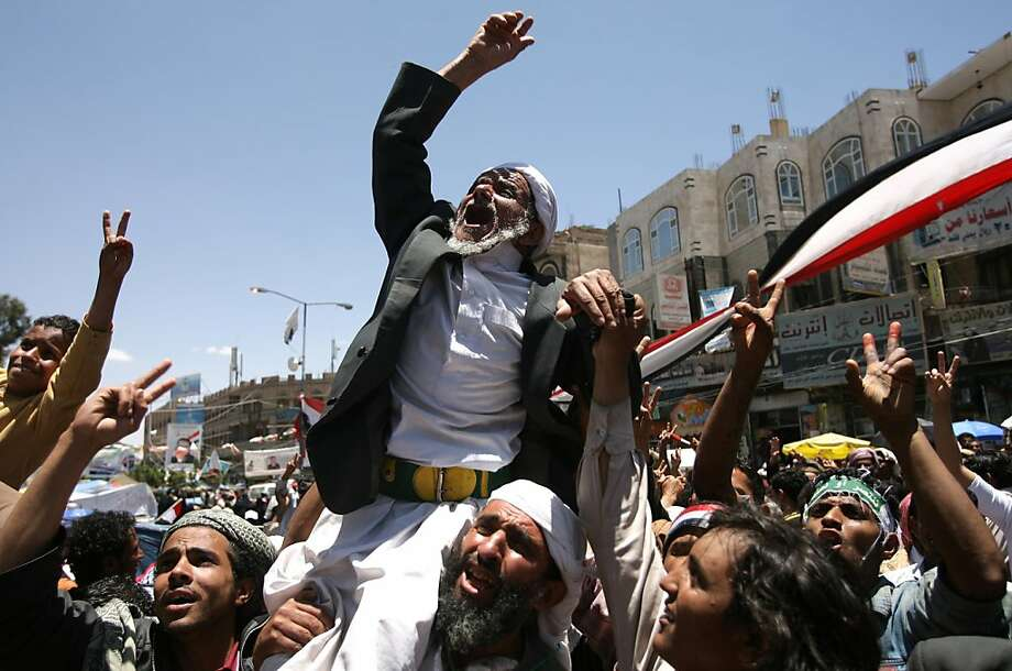 Yemeni anti-government protesters shout slogans during a demonstration demanding the resignation of President Ali Abdullah Saleh in Sanaa on April 20, 2011. Photo: Mohammed Huwais, AFP/Getty Images