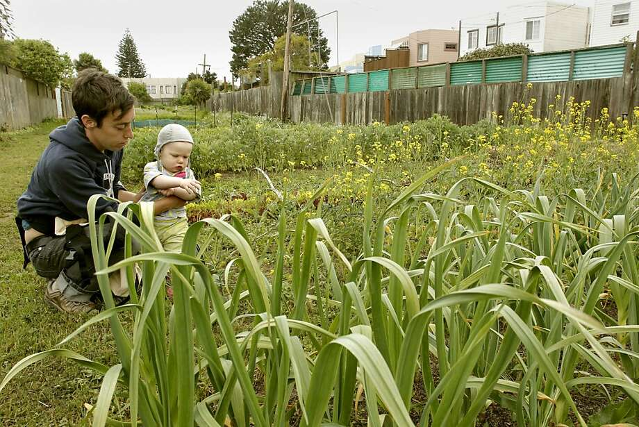 Finn Cunningham and her 1-year-old daughter Keira, explore the vegetables growing at the Little City Gardens in San Francisco, Ca. on Wednesday April 20, 2011, as San Francisco Mayor Ed Lee signed into law the new agricultural zoning ordinance that amends the Planning code to encourage edible gardening and urban farming within the city and county of San Francisco. Cunningham works with the urban garden, Free Farms in the city. Photo: Michael Macor, The Chronicle